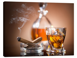 Canvas-taulu  Glass of whiskey and a cigar
