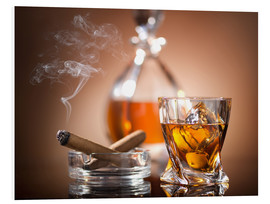 PVC-taulu  Glass of whiskey and a cigar