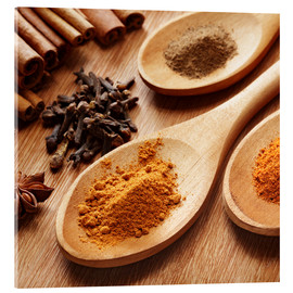 Akryylilasitaulu  Herbs and spices on wood