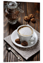 Akryylilasitaulu  Cup of coffee with cookies