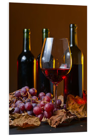 PVC-taulu  red wine with grapes and vine leaves
