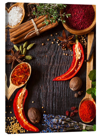 Canvas-taulu  Hot spices and herbs