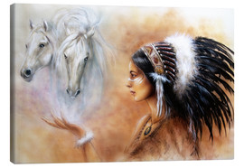 Canvas-taulu  American Indian with horses