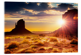 Akryylilasitaulu  Sunset at the sisters in Monument Valley, USA