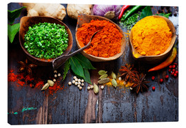 Canvas-taulu  Colorful spices diversity