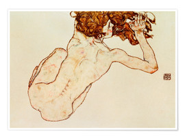 Juliste Crouching nude, back view