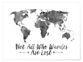 Juliste  Watercolor World Map - Mod Pop Deco