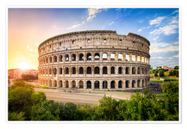 Juliste Colosseum at sunset in Rome, Italy