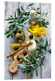 Akryylilasitaulu  Green and black olives with bottle of olive oil
