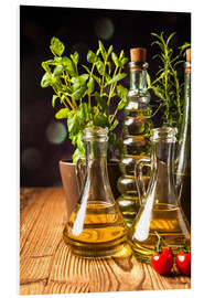 PVC-taulu  Olive oil in bottles