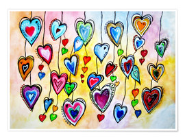 Juliste Awesome Colorful Hearts