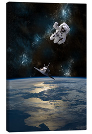 Canvas-taulu  At astronaut drifting in space - Marc Ward