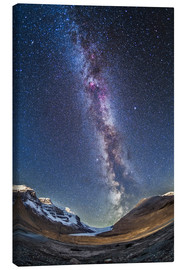 Canvas-taulu  Milky Way over the Columbia Icefields in Jasper National Park, Canada. - Alan Dyer