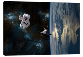 Canvas-taulu  An astronaut drifting in space is rescued by a space shuttle orbiting Earth. - Marc Ward