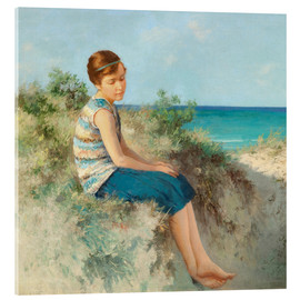 Akryylilasitaulu  Girl in the dunes by the North Sea beach on Sylt - Hermann Seeger