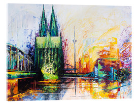 Akryylilasitaulu  Cologne Cathedral Skyline colored - Renate Berghaus