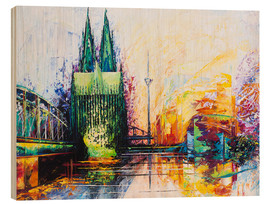 Puutaulu  Cologne Cathedral Skyline colored - Renate Berghaus