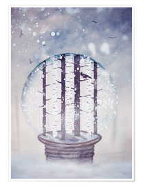 Juliste Snowglobe with birch trees and raven