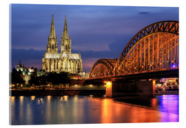 Akryylilasitaulu  Cologne Cathedral and Hohenzollern Bridge at night - Oliver Henze
