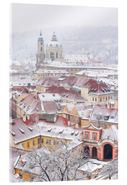 Akryylilasitaulu  winter roofs of Ledebursky palace and St. Nicolas church, Prague