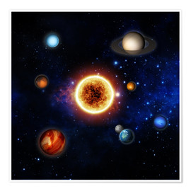 Juliste Our sun and planets