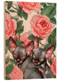 Puutaulu  Sphynx kitten with roses - Mandy Reinmuth