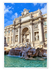 Juliste Trevi Fountain under blue sky