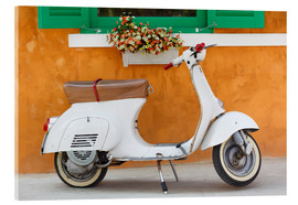 Akryylilasitaulu  White scooter in front of a window