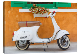 Canvas-taulu  White scooter in front of a window