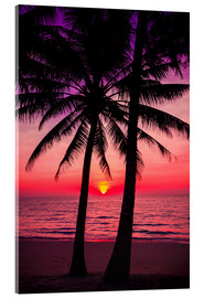 Akryylilasitaulu  Palm trees and tropical sunset