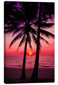 Canvas-taulu  Palm trees and tropical sunset