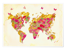 Juliste  Summer World Map - Mandy Reinmuth