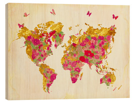 Puutaulu  Summer World Map - Mandy Reinmuth