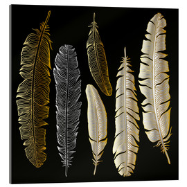 Akryylilasitaulu  Feathers in Gold and Silver