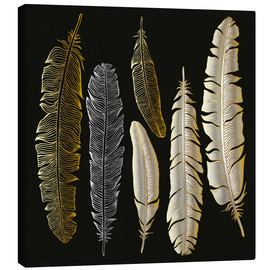 Canvas-taulu  Feathers in Gold and Silver
