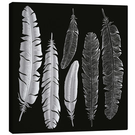 Canvas-taulu  Feathers in silver