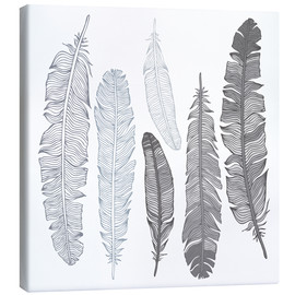 Canvas-taulu  Feathers on white