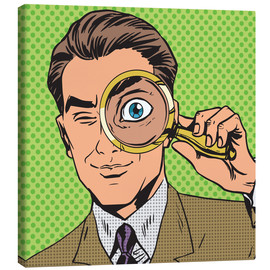 Canvas-taulu  Detective with magnifying glass