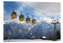 Akryylilasitaulu  Cable car in the Alps