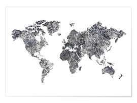 Juliste  World Map - Dried