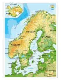 Juliste  Scandinavia - Topographic Map