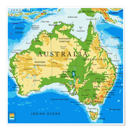 Juliste  Australia - Topographic Map