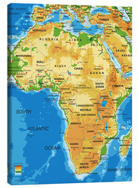 Canvas-taulu  Africa - Topographic Map