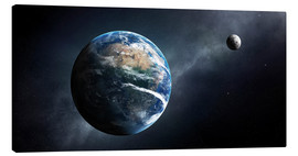 Canvas-taulu  Earth and moon from outer space - Johan Swanepoel