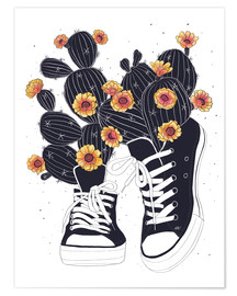 Juliste  Sneakers with flowering cactuses - Valeriya Korenkova