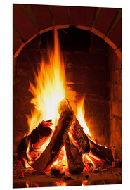 PVC-taulu  Wood in the fireplace