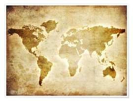 Juliste  Vintage world map