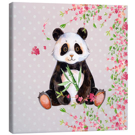 Canvas-taulu  Little panda bear with bamboo and cherry blossoms - UtArt