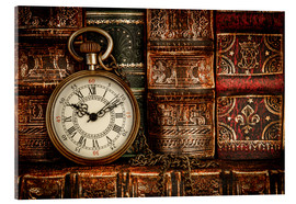 Akryylilasitaulu  Clock in front of books