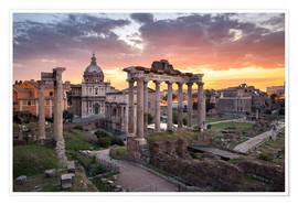 Juliste Dramatic sunrise at the Roman Forum in Rome, Italy